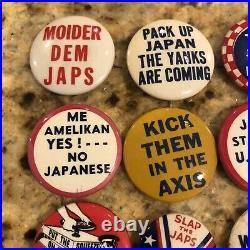 16 Rare Original Wwii Anti Hitler Axis & Japan Propaganda Pinback Buttons Pins