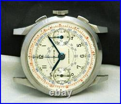 1940s LYCEUM Pilot CHRONOGRAPH Watch Valjoux VZ 17J VTG RARE Military WAR WW2