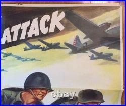 1942 WORLD WAR II WWII POSTER BUY WAR BONDS ATTACK ATTACK RARE ORIGINAL Marine