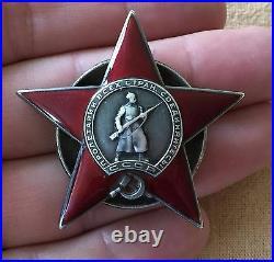 #24713 Red Star Order Rare 3 Rivets Type 100% Original Ww2 Russian Army Badge