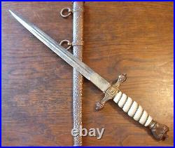 Fabulous German Ww II Navy Officer's Dagger Knife With Scabbard! Rare
