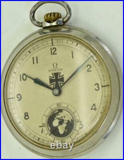 Historic WWII military Omega stainless steel pilot's pocket watch c1938. RARE