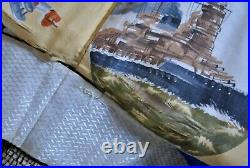 Japanese Military Kimono WWII Rare Propaganda Trench Art with Yamato Battleship