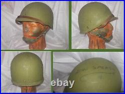 Orig. Korean or Vietnam War M1C Helmet & Liner Paratroop Rare M Ser. McCord WW2