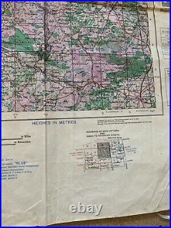 Original WW2 British Army Map 1943 Dated RARE NORMANDY! Cherbourg & Caen D-Day