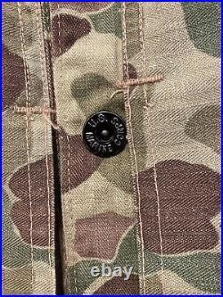 Original WWII USMC US Marine Corps P44 Frogskin HBT Camouflage Jacket Rare (40)