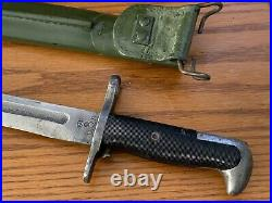 Original ww2 wwll us army usmc m1905 bayonet Pal 1942 With1917 scabbard named RARE