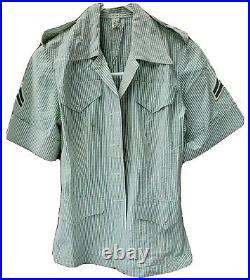 RARE 1940s Vtg WW2 WWII Womens USMC Uniform Dress Top Military Pinstripe Nurse