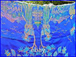 RARE Antique Vintage WWII Silk Piano Scarf Shawl Geisha Crane BLUE Tablecloth