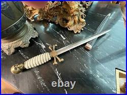 RARE Antique WW2 Masonic German Skull Dagger with Original Scabbard