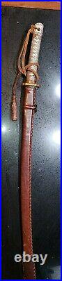 RARE PROTOTYPE WWII Japanese Army officer's samurai sword NCO LEATHER SCABBAR