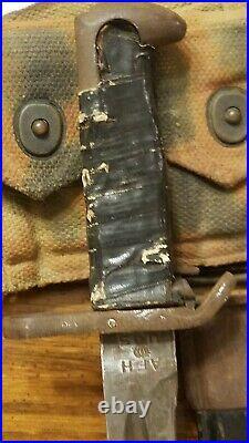 RARE WW2 1942 US Army Camouflage M1 Garand Ammo Belt with Bayonet Attached