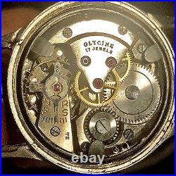 RARE WW2 Glycene Cal. 72 1940s Swiss Men's Military Pilot's Watch Runs WithIssues