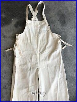 RARE WWII US Navy Gunner Full Set Smock Overalls Gloves Gas USN White Cotton 40s