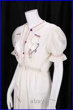 Rare 1940s PARACHUTE SILK WWII era embroidered peasant slip dress vintage 40s