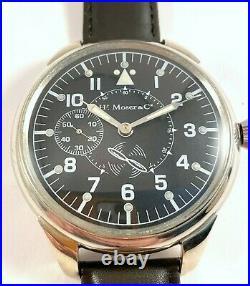 Rare Big Military Moser Schaffhausen Swiss Watch Aviator Pilot WW2 Exc. Cond