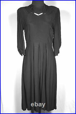 Rare Classic French Vintage Early 1940's Wwii Era Black Rayon Dress Sz 8-10