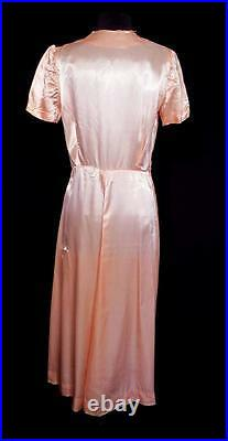 Rare French Vintage 1940's Wwii Era Pink Rayon Satin Dressing Gown Size Medium