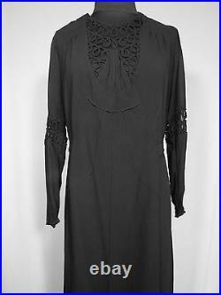 Rare French Vintage Wwii Era 1930's-1940's Black Silk Crepe Dress Size 4-6