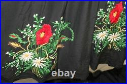 Rare French Vintage Wwii Era 1940's Floral Embroidered Rayon Dress Size 6-8