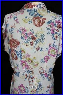 Rare French Vintage Wwii Era 1940's Floral Silky Rayon Print Dress Size 10-12