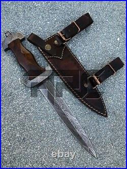 Rare Handmade Wwii German Ss Forged Damascus Steel Dagger Knife Wood Handle
