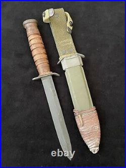 Rare Original 7 gr. WWII US M3 Case BD MK M8 BMCO scabbard Trench Fighting Knife