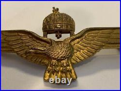 Rare Original Hungarian Pilot Wings Badge Gold Officers Berann Budapest Ww2