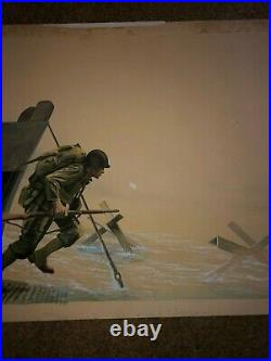 Rare Original Illustration Art Painting WWII Landing At Normandy D-Day