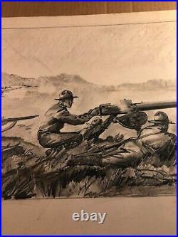 Rare Original Large Signed Illustration Art Drawing WWII 1940 Ogdensburg NY