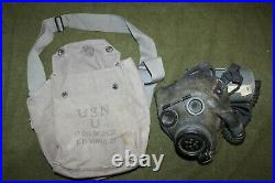 Rare Original WW2 U. S. Navy Optical Gas Mask, 1943 d. WithFilter & Canvas Carrier