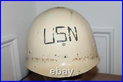 Rare Original WW2 USN Gray Painted M1 Helmet withWhite Medic Liner Set, Named