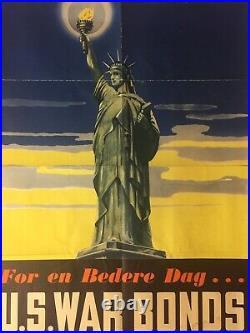 Rare Original WW2 WWII 1943 Danish Statue of Liberty US War Bonds Poster 22X28