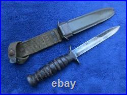 Rare Original Ww2 Early M3 Knife Dagger And Sheath Kinfolks Blade Marked