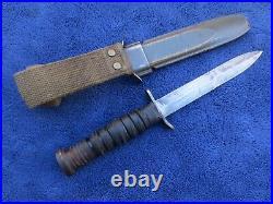 Rare Original Ww2 Early M3 Knife Dagger And Sheath Made By Pal