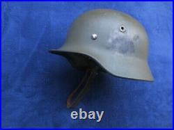 Rare Original Ww2 German Combat Helmet M40 Partial Liner And Chinstrap