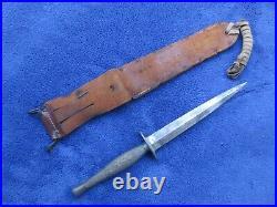 Rare Original Ww2 Usmc Marine Raider Knife Stiletto And Leather Sheath