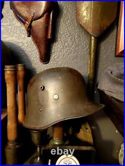 Rare Original ww1/ww2 German double decal transitional Helmet with Liner