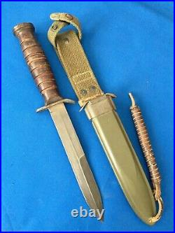 Rare Unused WWII 2 Aerial US M3 Trench Fighting Knife M8 scabbard Exc
