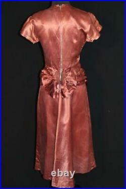 Rare Vintage 1940's Wwii Era Fancy Bronze Rayon Satin Dress Size 6