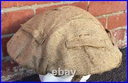 Rare WW2 British -NZ Original Hessian Helmet Cover In Sand Tan