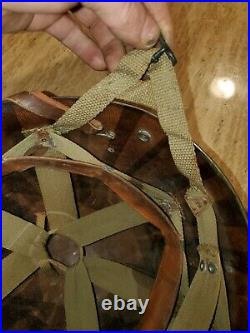 Rare WW2 US Inland M1 Airborne Paratrooper Helmet Liner with original Yokes