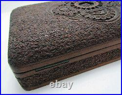 Rare WWII Anglo Indian Kashmiri Kashmir Srinagar RAF Carved Wooden Cigarette Box