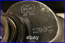 SARD BU. AERO U. S. NAVY MARK 43 6x42 Wide Field WWII Military binoculars RARE