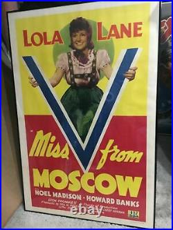 Sale! Rare 1942 Wwii Miss V For Victory From Moscow, Lola Lane Poster