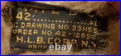 Size 42 WW2 A2 Leather Flight Jacket WWII Sheepskin Bomber Rare Original HLB