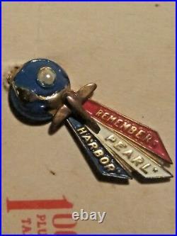 Sterling Remember Pearl Harbor Pin WWII Memorabilia LAMPL Original Card RARE