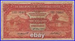 Trinidad & Tobago Banknote 2 Dollar 1942 P8 Rare WW2 Issue Harbor Palm Unicorn