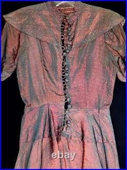 Unusual Rare Vintage French Wwii Era 1940's Designer Silk Brocade Dress Size 4