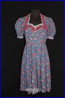 Very Rare 1940's Wwii Era German Ethnic Cotton Print Dress Size 6